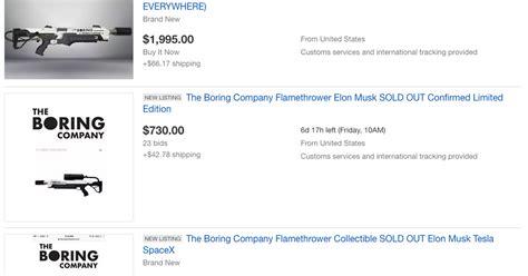 elon musk ebay elon musk s flamethrower appears on ebay t for jacked up