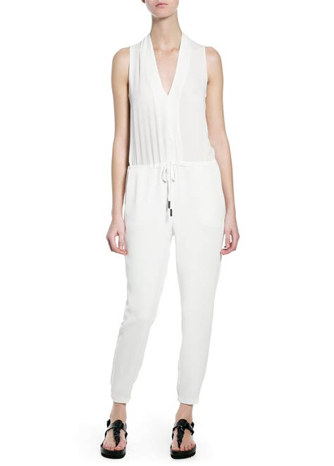 Jumpsuit Mango White by Mango Crepe Jumpsuit In White White Lyst