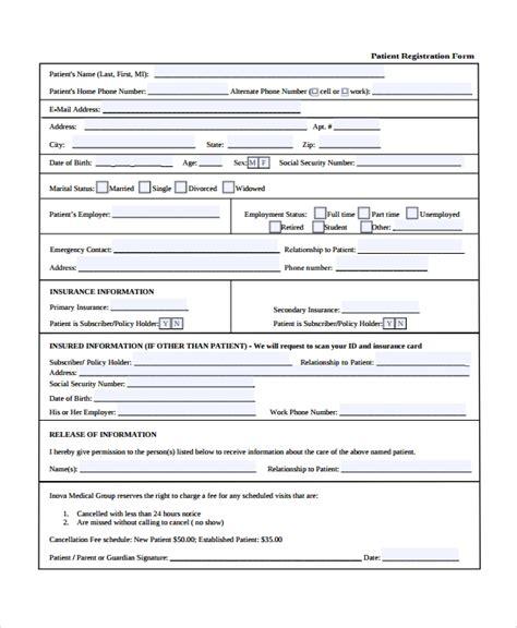 9 Patient Registration Form Templates Sle Templates Doctor S Office Registration Form Template