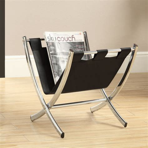 black leather look chrome metal magazine rack