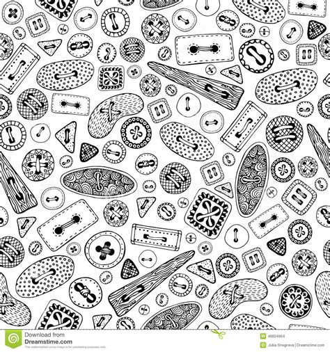 black and white pattern on clothes vintage cartoon sewing buttons seamless pattern stock