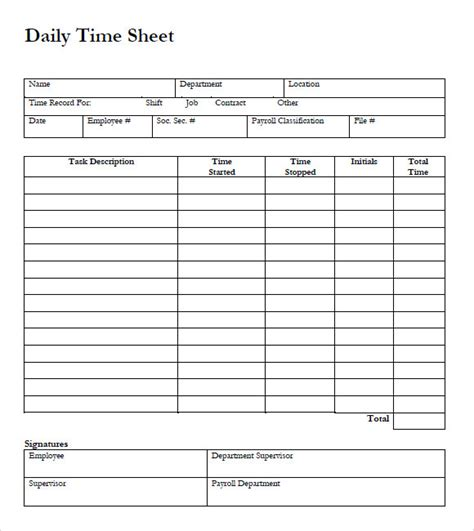 time card template sheets 10 blank timesheet templates free sle exle