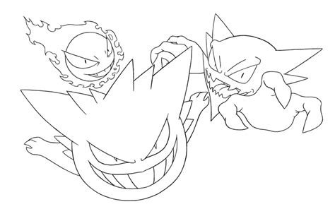 ghost pokemon coloring pages founders of ghost pokemon lineart by metalzoa17 on deviantart