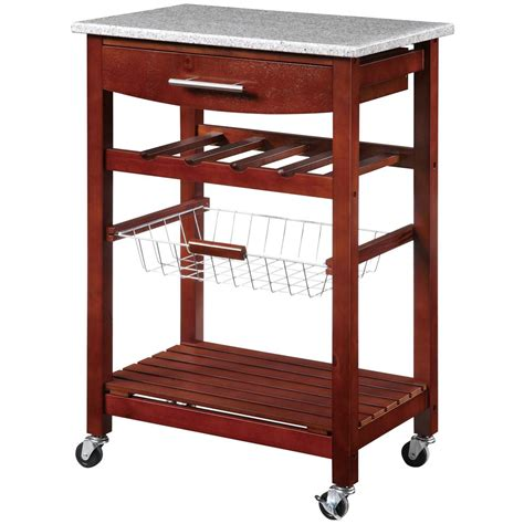 rolling kitchen island linon home decor inc granite top rolling kitchen island