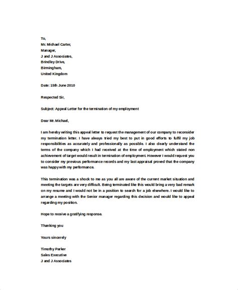 Contract Letter Sle Word Termination Appeal Letter Sle 25 Images Termination