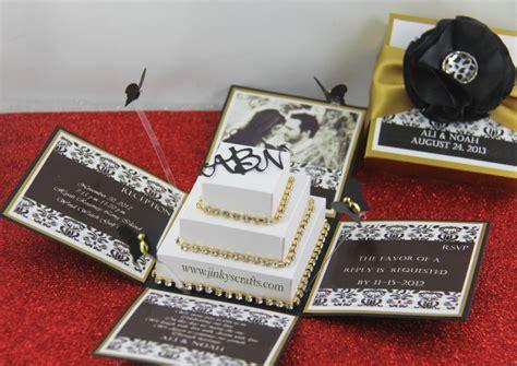 wedding invites in a box black gold damask exploding box wedding invitation