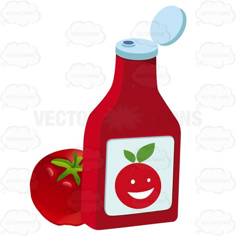 ketchup clipart open ketchup bottle sitting next to a tomato