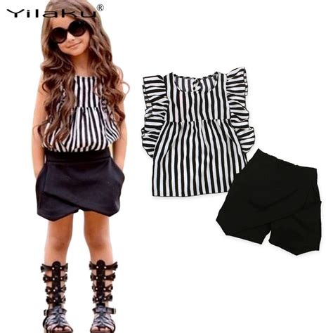 19051 Black White Stripped Sale Casual Two Pcs toddler baby summer clothing set striped shirt black shorts 2pcs clothes