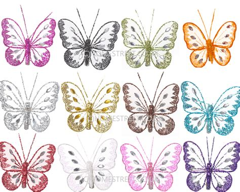butterfly decorations for home pack 12 glitter diamante small butterfly decorations