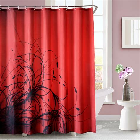 red and black floral curtains luxury fabric shower curtain abstract plant floral red