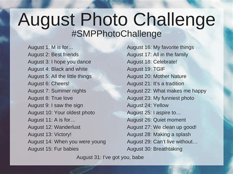 Or Challenge The August Photo Challengescanmyphotos