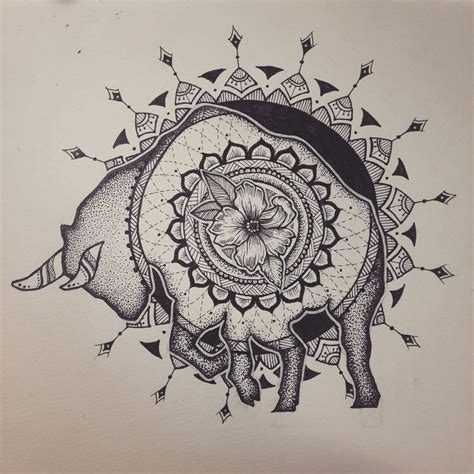 taurus zodiac sign mandala dotwork by elenoosh on deviantart