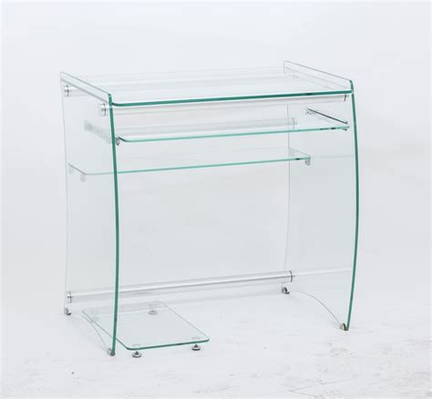porta pc in vetro scrivania porta pc in vetro trasparente idfdesign