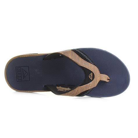 reef fanning mens size 10 mens reef fanning prints navy wood toe post sandals flip