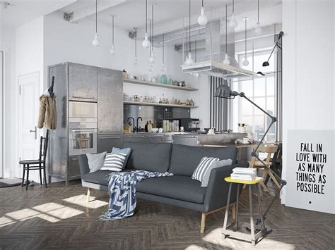 scandi style scandinavian apartment with industrial elements by