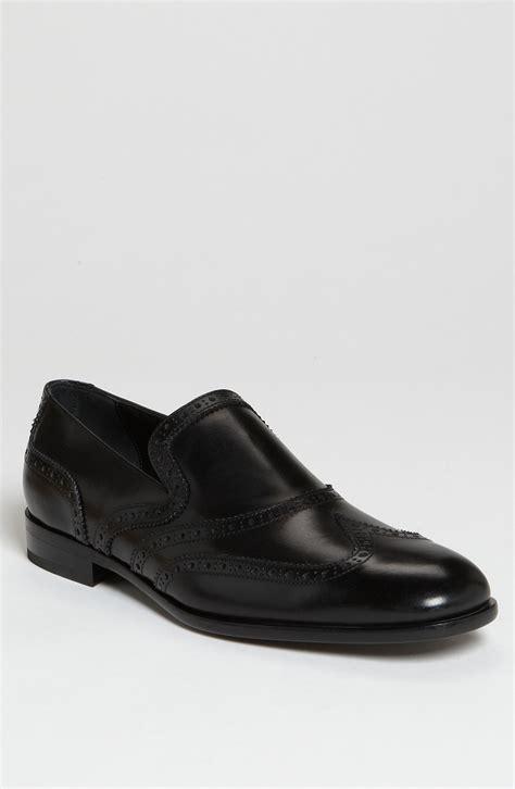 wing loafers ferragamo beltramo 2 wing tip loafer in black for lyst