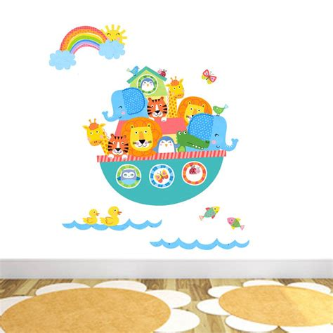 noah ark wall stickers noah s ark brights fabric wall stickers by littleprints notonthehighstreet