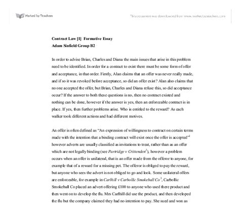 Contract Essays by Contract I Formative Essay A Level Marked By Teachers