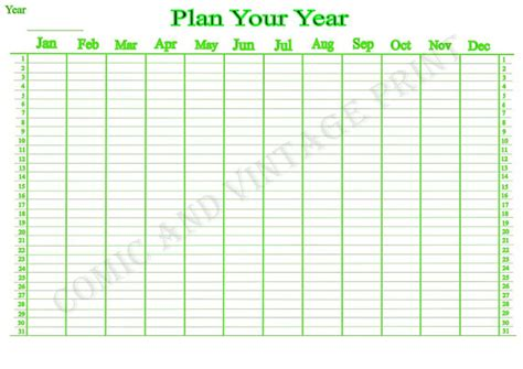 printable year planner a4 items similar to yearly wall planner for 2018 2019 2020
