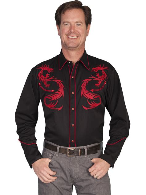 men s rockabilly style fashionbeans scully 174 mens dragon embroidered black ls western