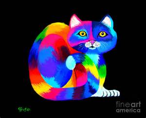 Bathroom Paintings Colorful Kitty Cat Painting By Nick Gustafson