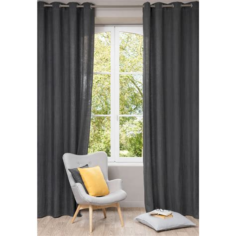 Charcoal Linen Curtains Washed Linen Eyelet Curtain In Charcoal Grey 140 X 300cm Maisons Du Monde