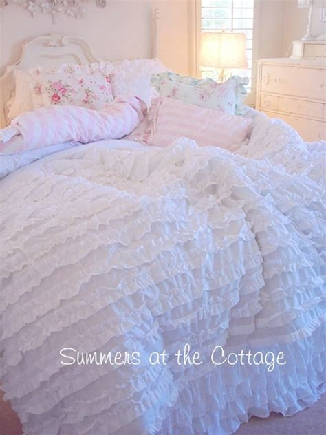 white ruffled comforter shabby light grey cottage chic gray ruffles comforter set