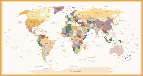 world map wallpaper highly detailed political world map vintage colors