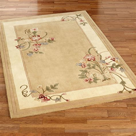Floral Bouquet Light Gold Area Rugs Floral Rugs
