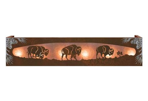 burnished buffalo herd on the range six light metal vanity