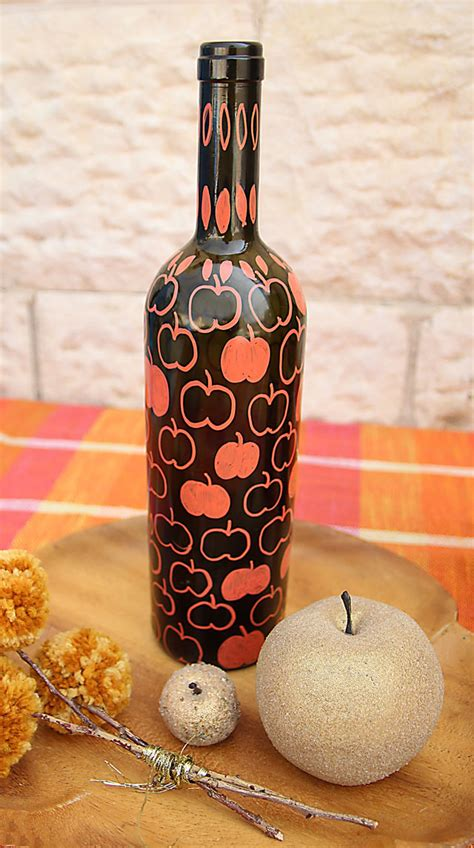 fall diy paint markers on wine bottles