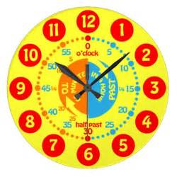 Kids learn to tell time yellow red wall clock zazzle