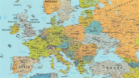 detailed vector map  europe maptorian