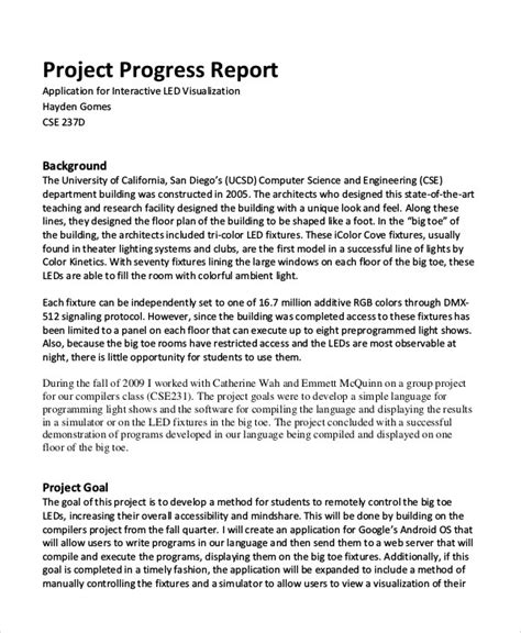 project progress report template project progress report project progress report template