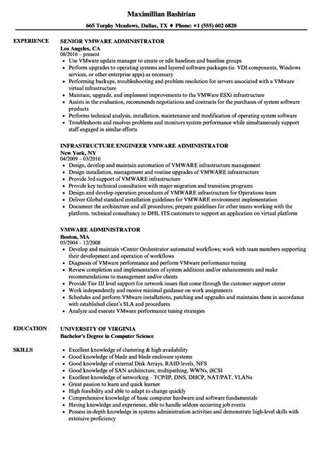 sle resumes for vmware admin vmware administrator resume sles velvet jobs