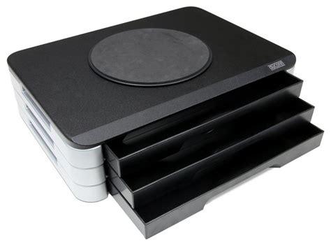 Designer Desk Accessories And Organizers Dyconn Wood Top Adjustable Printer Swivel Stand Desk Organizer With 3 Drawers Modern Desk