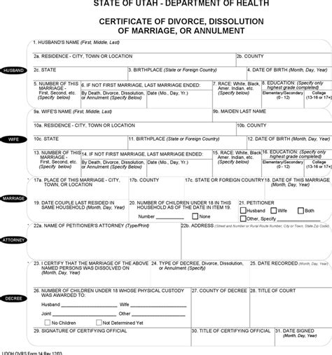 Dissolution Of Marriage Records Utah Certificate Of Divorce Form For Free Tidyform