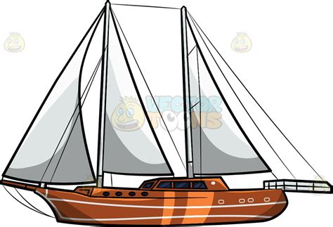 cartoon sailboat a luxury sailboat clipart by vector toons