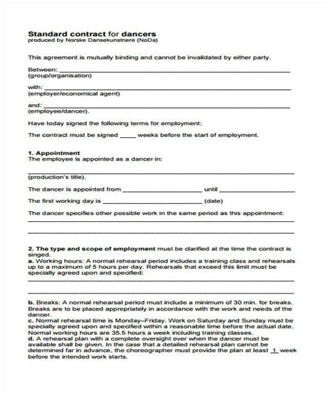 sle performance contract form free documents in word pdf