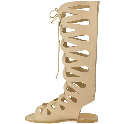 knee high lace up sandals womens flat knee high gladiator strappy sandals