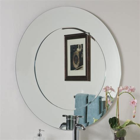 bathroom mirrors frameless shop decor wonderland oriana 35 in x 35 in round frameless