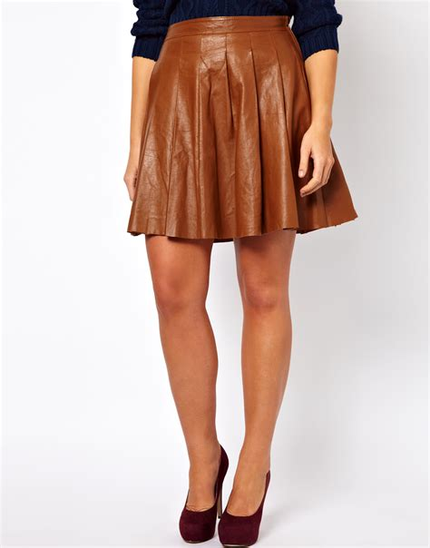 asos skater skirt in leather in brown lyst