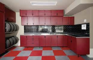 Garage Cabinet Design Red Garage Cabinet Ideas With Red And White Floor Also