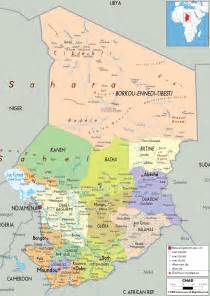 detailed political map of chad ezilon maps