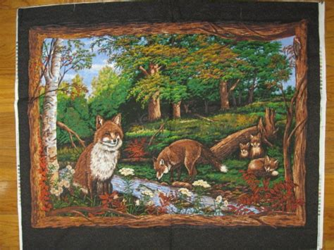 Wildlife Fabric For Quilting by Fox Family Wildlife Wall Hanging Quilt Panel Fabric To Sew