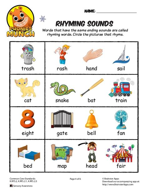 words that rhyme with bed rhyming sounds worksheet
