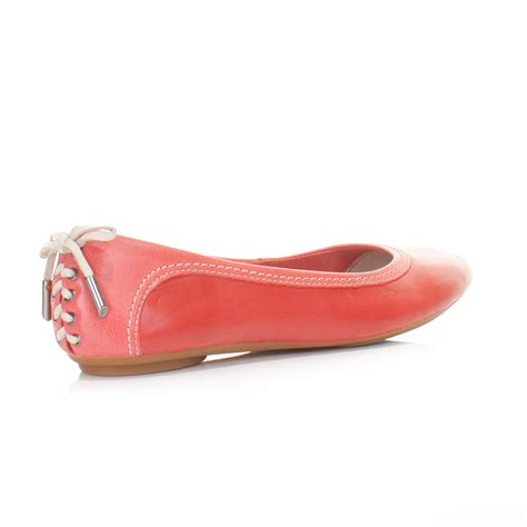 coral flats shoes womens hush puppies chaste skimmer lace back coral leather