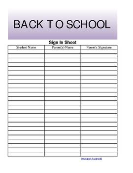 Back To School Sign In Sheet Template by The S Ultimate Sign In Sheet Free By Innovative