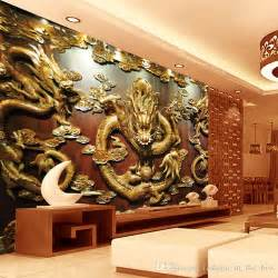 Chinese Wall Murals custom 3d wallpaper wood carving dragon photo wallpaper