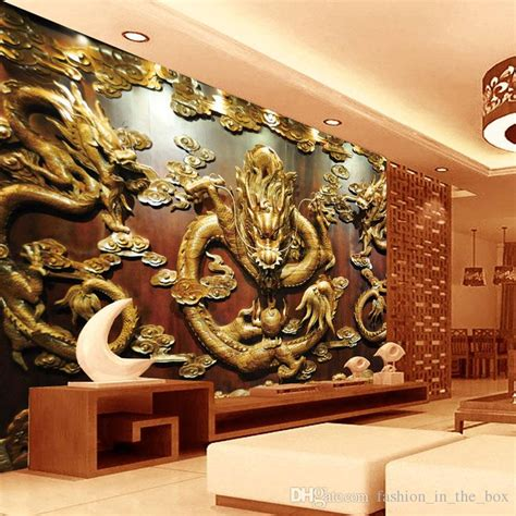 dragon decorations for a home custom 3d wallpaper wood carving dragon photo wallpaper
